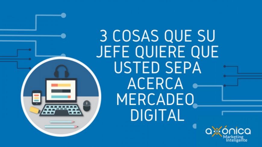 3 Cosas que su jefe quiere que usted sepa acerca de mercadeo digital.